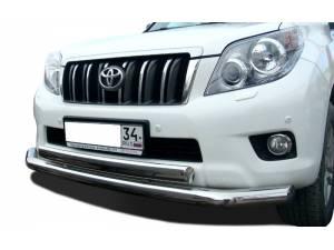 Защита переднего бампера двойная (овал) d76/75 на Toyota Land Cruiser 150 (2010-2013)