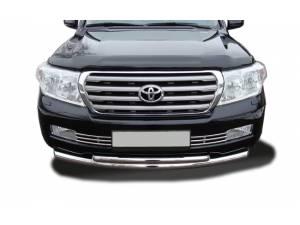 Защита переднего бампера двойная (радиус) d76/60 на Toyota Land Cruiser 200 (2007-2012)