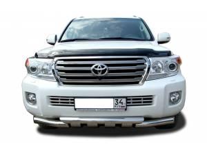 Защита переднего бампера двойная d76/76 на Toyota Land Cruiser 200 (2007-2012)