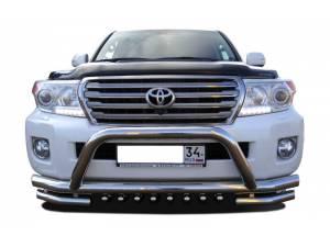 Защита переднего бампера двойная с кенгурином d76/60/42 на Toyota Land Cruiser 200 (2012-2015)