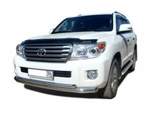 Защита переднего бампера двойная d76/60 на Toyota Land Cruiser 200 (2012-2015)