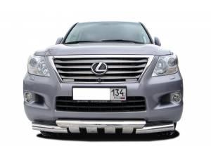 Защита переднего бампера двойная d76/76 на Lexus LX570 (2012-2014)