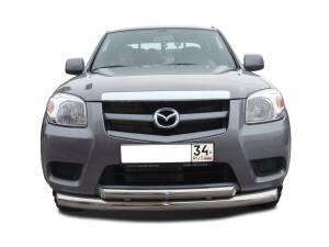 Защита переднего бампера двойная d76/60 на Mazda BT-50 (2007-2012)