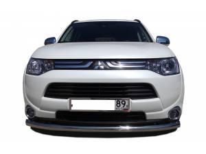 Защита переднего бампера d76 на Mitsubishi Outlander 2014