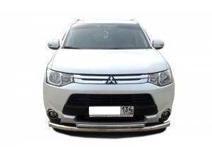 Защита переднего бампера двойная d60/42 на Mitsubishi Outlander 2014