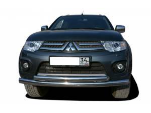 Защита переднего бампера двойная d60/53 на Mitsubishi Outlander XL (2007-2009)