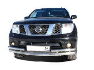 Защита переднего бампера d76/53 с боковой защитой на Nissan Pathfinder (2010-2014)