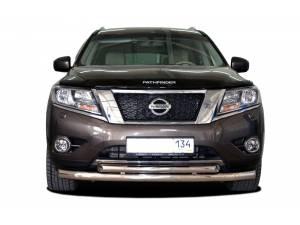 Защита переднего бампера двойная d76/60 на Nissan Pathfinder (2014-)