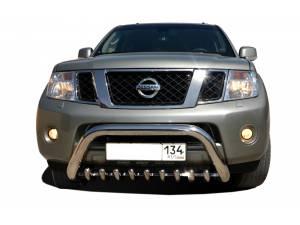 Кенгурятник низкий с защитой d76/42 на Nissan Pathfinder (2014-)