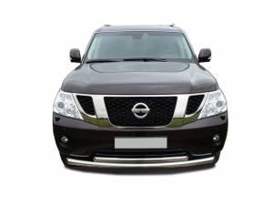 Защита переднего бампера двойная d76/60 на Nissan Patrol (2010-2013)