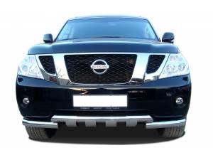 Защита переднего бампера двойная d76/76 на Nissan Patrol (2010-2013)