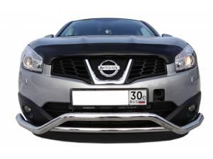 Защита переднего бампера двойная d60/42 на Nissan Qashqai (2007-2010)