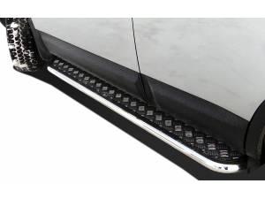 Пороги с накладным листом d60 на Nissan Qashqai (2007-2010)