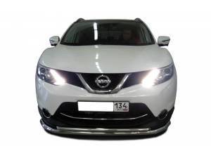 Защита переднего бампера двойная d60/42 на Nissan Qashqai (2014-)