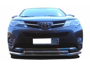 Защита переднего бампера двойная d60/42 на Toyota Rav4 (2013-2015)