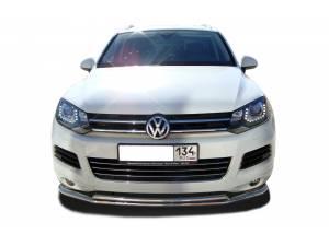Защита переднего бампера двойная d60/60 на Volkswagen Touareg (2010-2013)