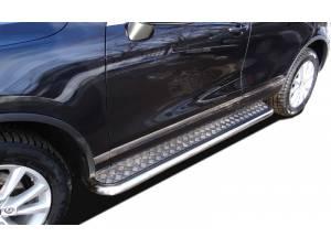 Пороги с накладным листом d53 на Volkswagen Touareg (2010-2013)