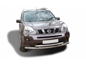 Защита переднего бампера двойная d60/60 на Nissan X-Trail (2007-2011)