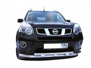 Защита переднего бампера двойная с доп. накладками d60/42 на Nissan X-Trail (2011-2014)