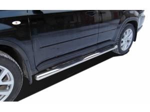 Пороги труба с проступью d76 на Nissan X-Trail (2011-2014)