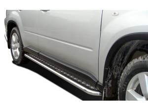Пороги с накладным листом d53 на Nissan X-Trail (2011-2014)