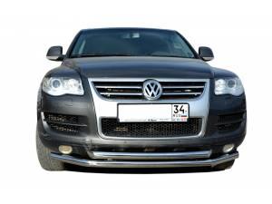 Защита переднего бампера двойная d76/60 на Volkswagen Touareg (2007-2010)