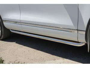 Защита штатного порога d60 на Volkswagen Touareg (2010-2013)