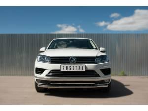 Защита переднего бампера d63 на Volkswagen Touareg (2014-)