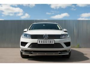 Защита переднего бампера двойная d63/42 на Volkswagen Touareg (2014-)