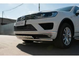Защита переднего бампера двойная d75х42 (дуги) для Volkswagen Touareg (2014-)